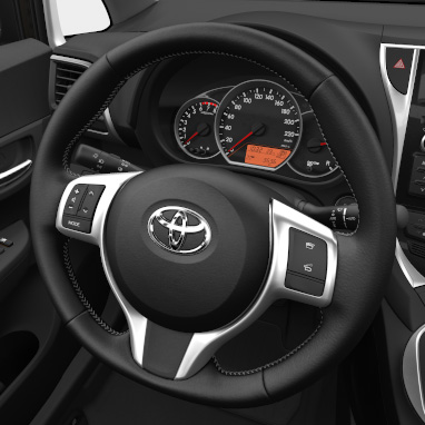 Silver stitching on steering wheel